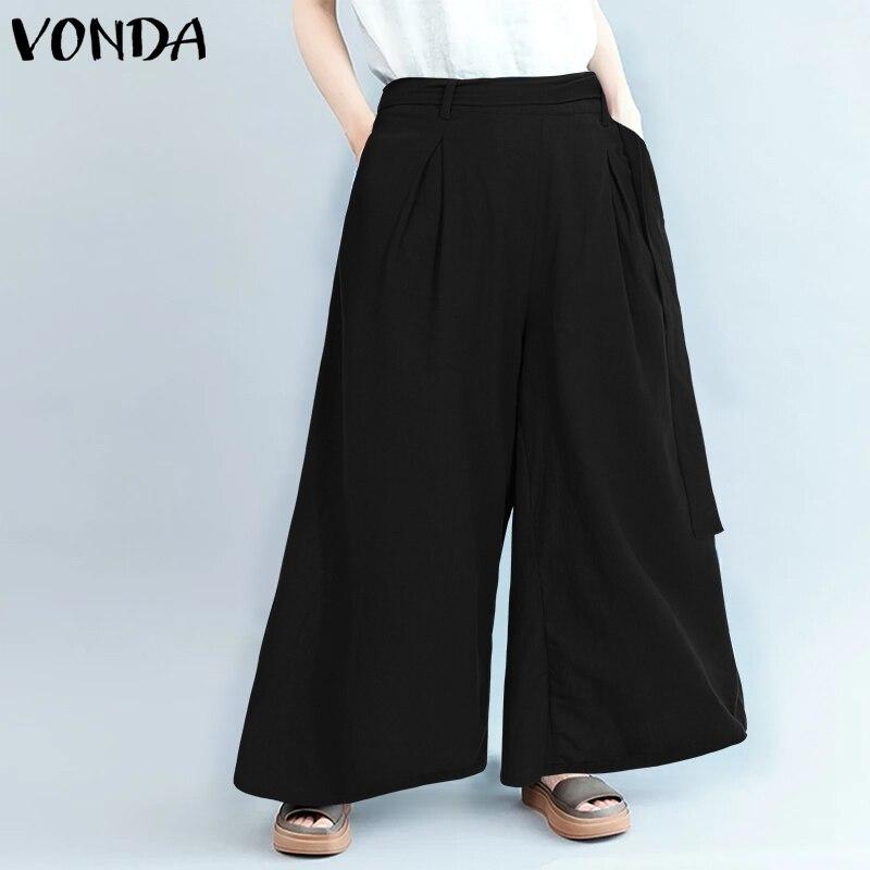 2019 Spring Summer VONDA Women   Pants   Casual Loose Solid   Wide     Leg     Pants   Office Ladies Pantalon Overalls Women's Trousers Plus Si