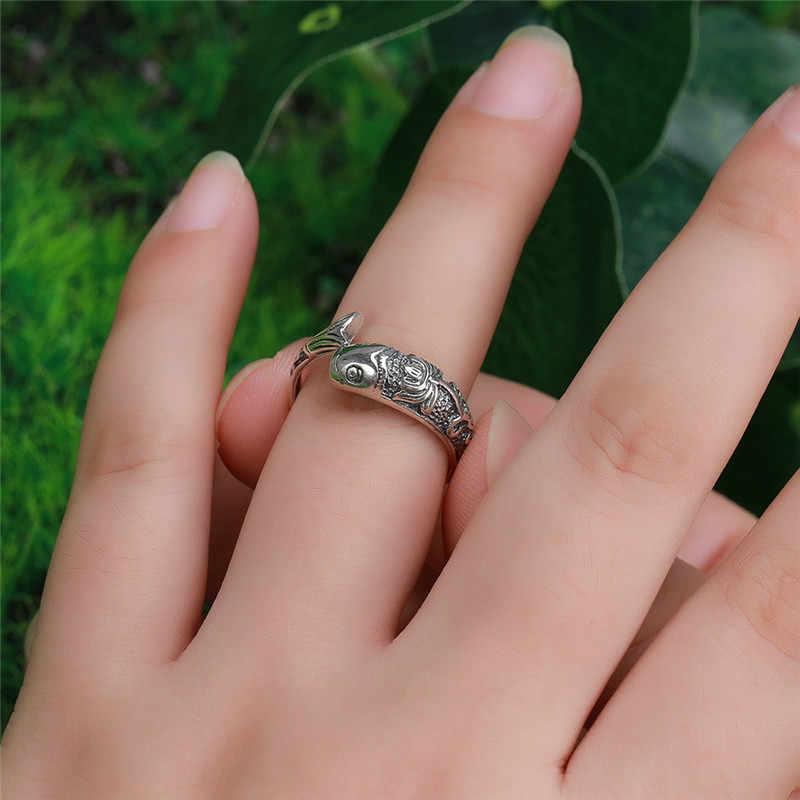 100% anillo de Plata de Ley 925 auténtica, anillo clásico de pez para mujer, joyería fina al por mayor, Envío Gratis, joyería para hombre WR20039