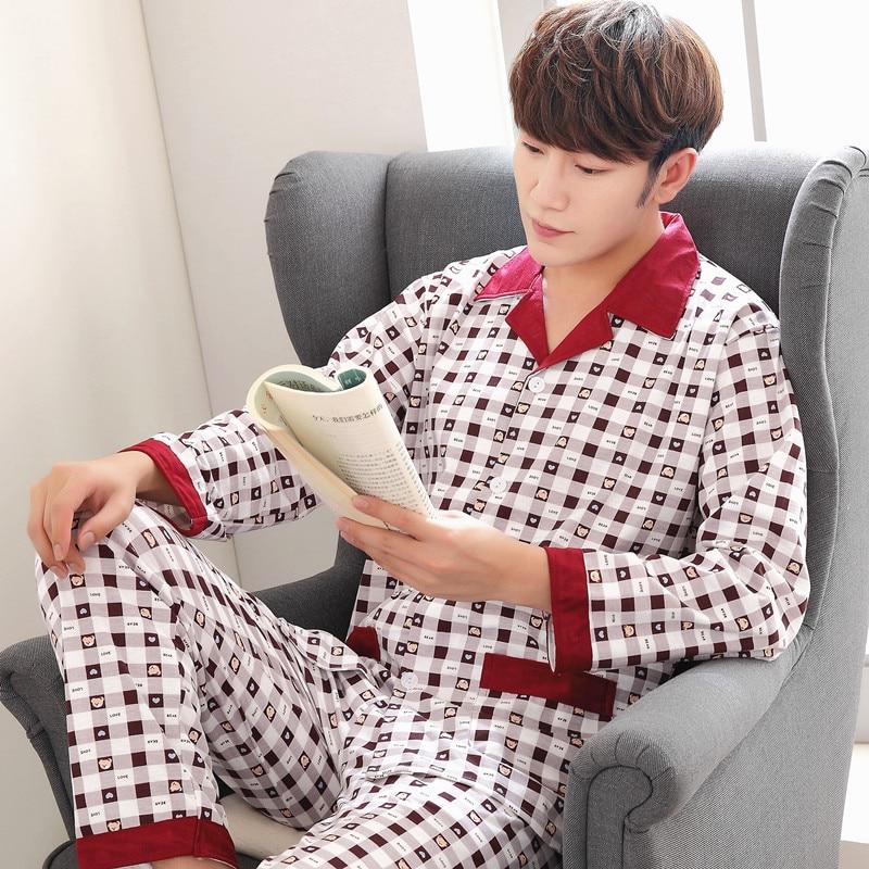 Men Pajama Set Autumn And Winter Long Sleeve Cotton Pajama For Men Plaid Sleepwear Casual Sleep&Lounge Pyjamas Suit Nightwear