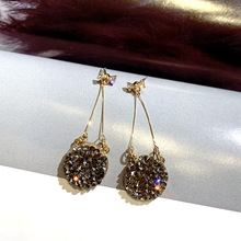 new fashion golden silver plated dangle hanging  rhinestone long drop earrings for women jewelry brincos bijoux
