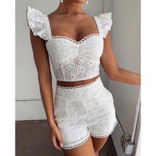Trendy Fashion Summer Outfits Women Eyelet Embroidery Ruffles Hollow Out Top & S