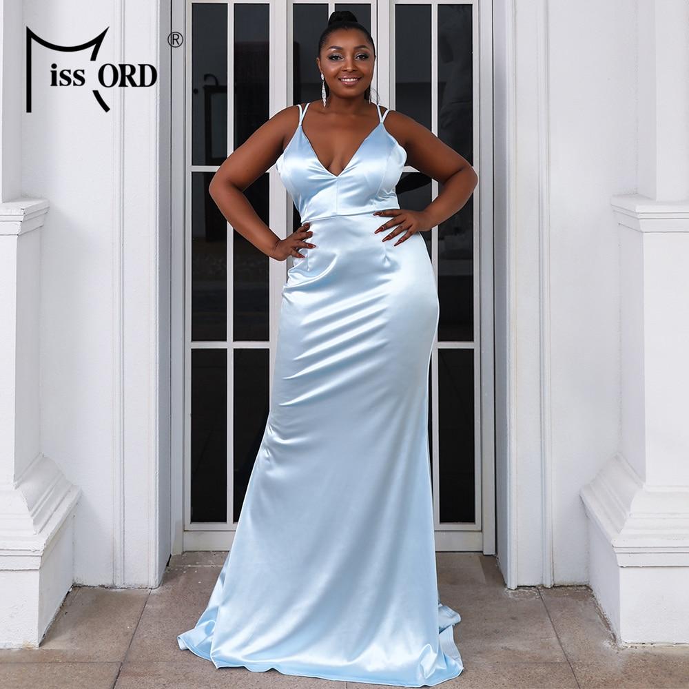 Missord 2021 Women Summer Dress Plus Size Sexy Crisscross Tied Backless Satin Maxi V Neck Prom Floor Length Party Elegant Blue