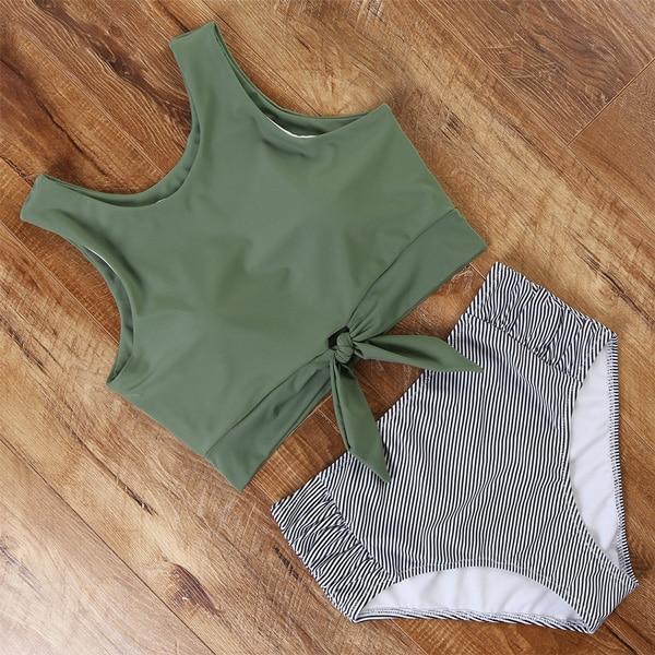 High Waisted Swimsuit Bikini 2020 Push Up Swimwear Women Sexy Bathing Suit Female Vest Bikini Set Leopard Swim Suit Beachwear 5