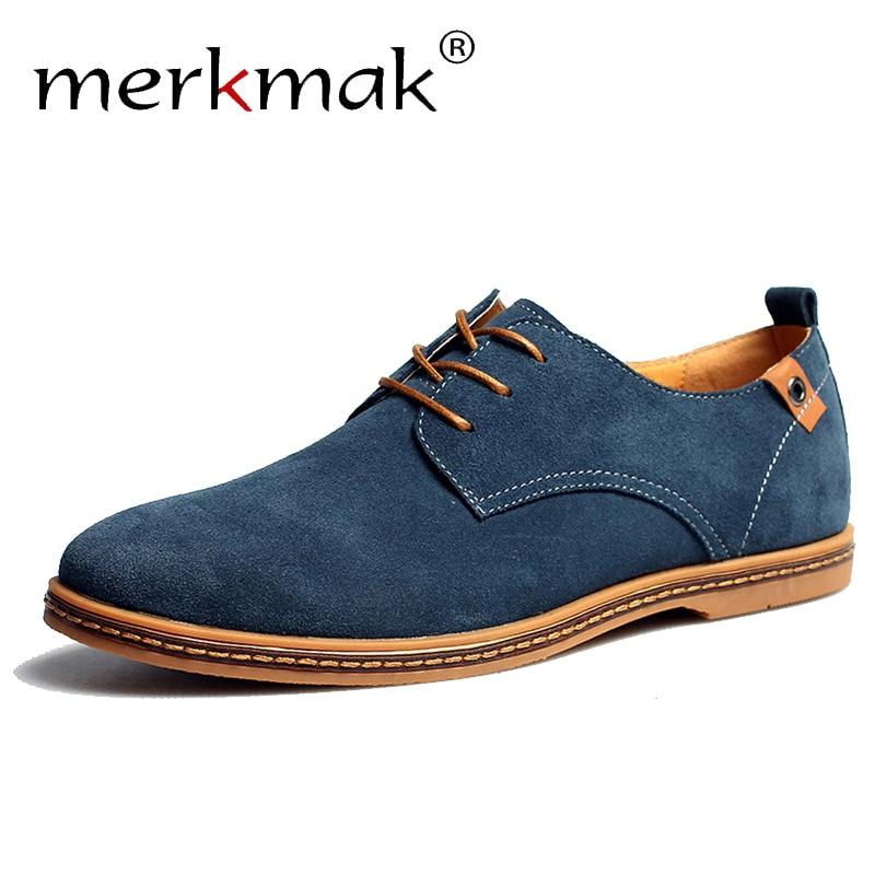 Merkmak Suede Men Leather Shoes Solid Lace up Big Size 38 48 Casual Shoes Men s