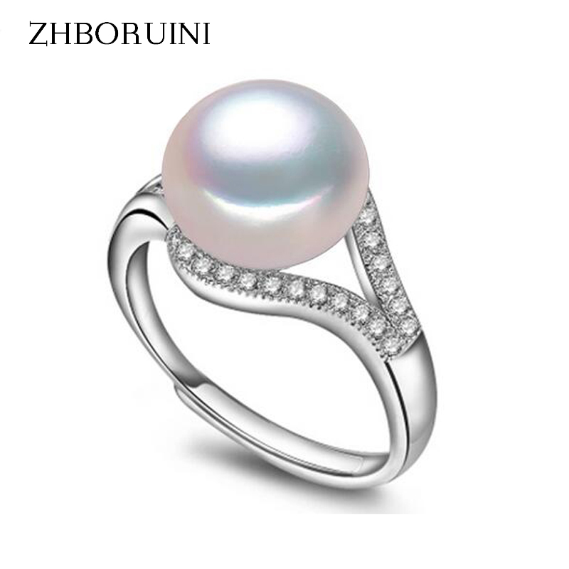 ZHBORUINI Pearl Ring Natural Freshwater Pearl Jewelry 925 Sterling Silver Rings For Women High Guality Zircon Wedding Rings Gift