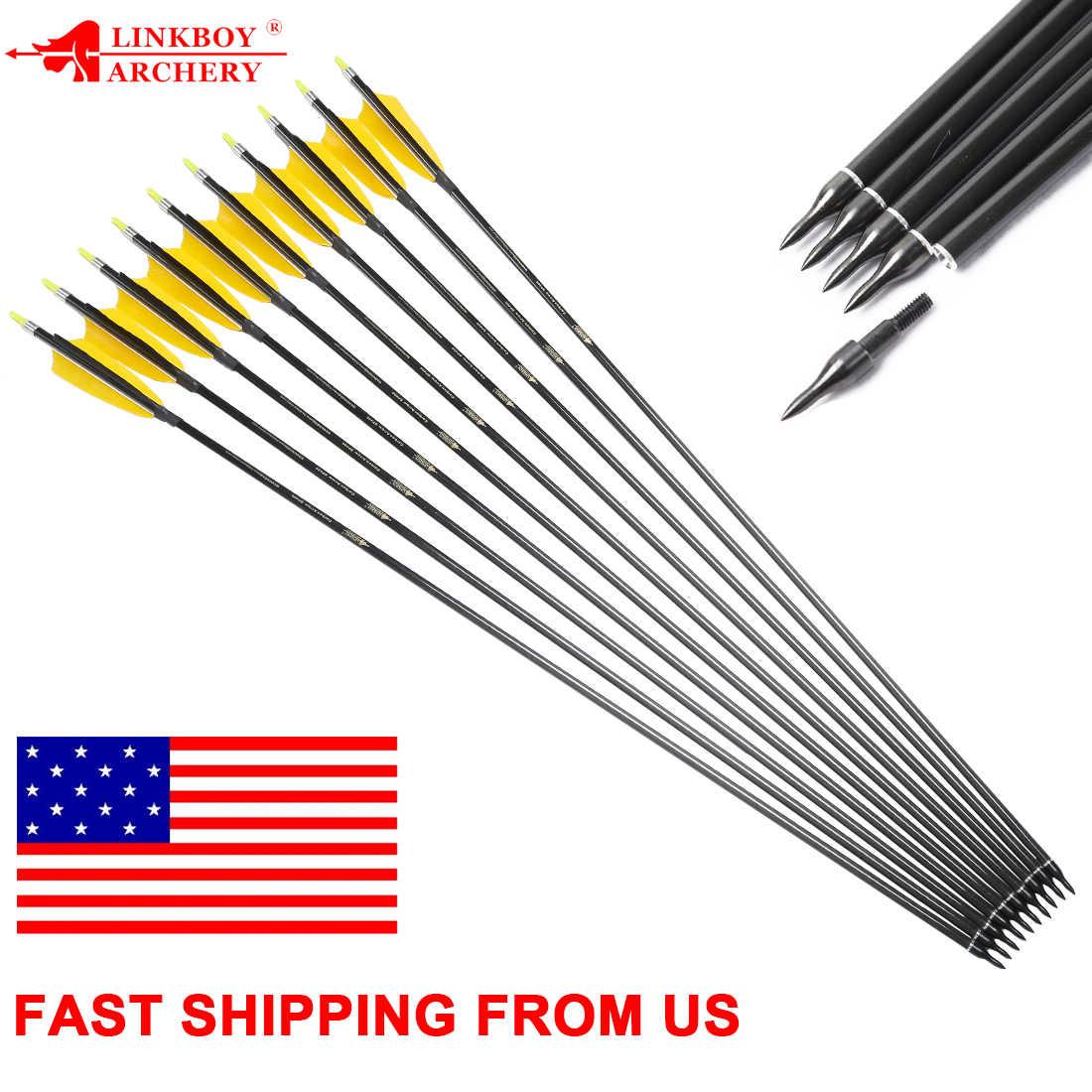 "12pcs Archery carbon arrows sp300 340 400 500 600 ID6.2mm 5/""Turkey feather"