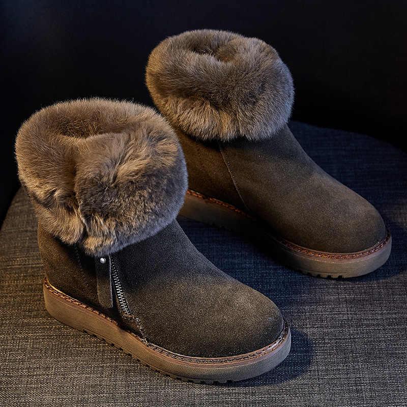 SWYIVY inek deri kadın kışlık botlar kısa peluş sıcak 2019 katı Platform yarım çizmeler kadınlar için tavşan kürk patik bayan ayakkabıları