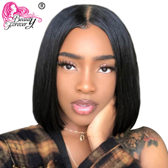 $ US $57.08 Beauty Forever 13*4/6 Remy Brazilian Straight Hair Bob Lace Front Wigs Middle Part with Preplucked Natural Hairline 130% 150%