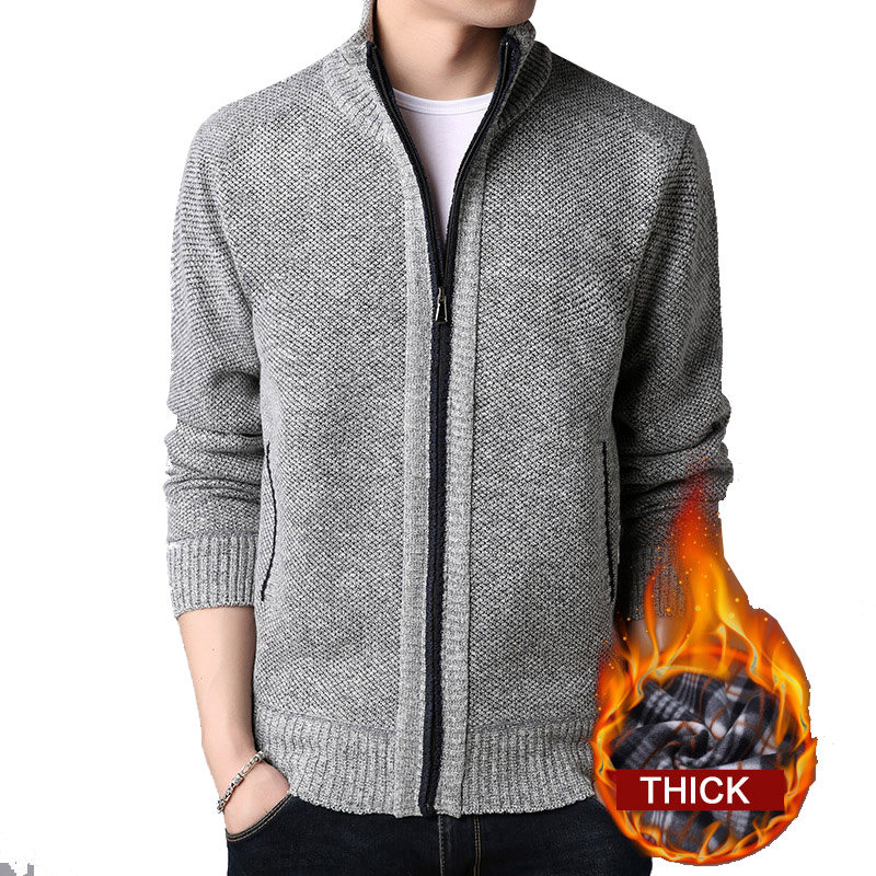 Men 2020 New Sweater Clothing Solid Thick Warm Cardigan Masculino Clothes for Men Sweater Zipper Oversize Long Sleeve Coat Homme