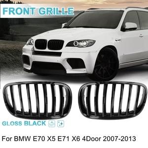 UXCELL 2PCS Front Gloss Black Dual Slat Bumper Kidney Grille Grill For BMW E70 X5 E71 X6 E46 E90 5 Series F30 F10 1997-2016(China)