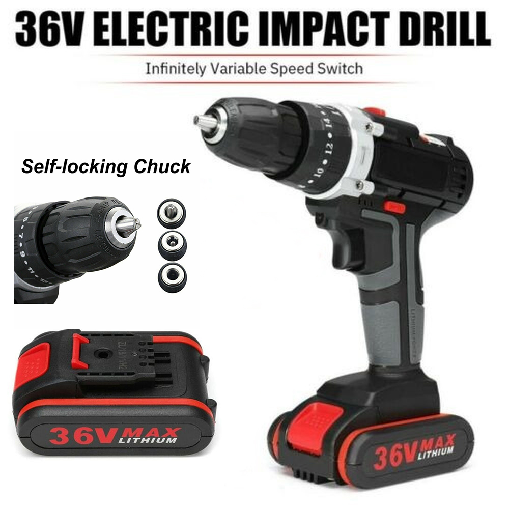 36V Electric Impact Drill 25+3 Torque Stage Cordless Drill Wrench Wireless Electric Drill Set With LED 2 Speeds +Battery