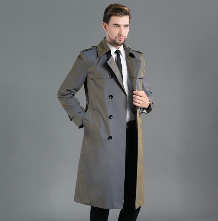 Spring autumn Mens trench coats man long coat men double breasted clothes slim fit overcoat long sleeve 2020 new designer