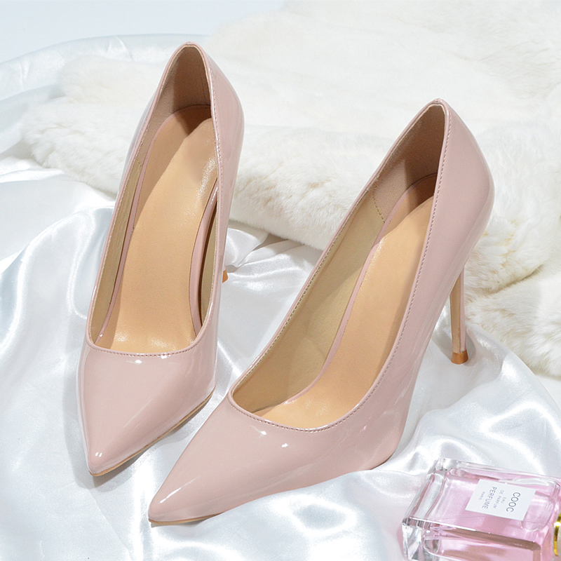 Donna-in New Autumn 10CM High Heels Shoes Women Pumps Heels Microfiber Leather Woman Shoes Sexy Pointed Toe Wedding Party Shoes
