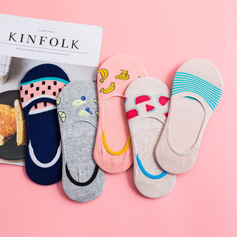 5 пар разноцветных невидимых коротких женских носков с фруктами, Летние удобные хлопковые носки-башмачки для девушек и женщин, низкие повсе...