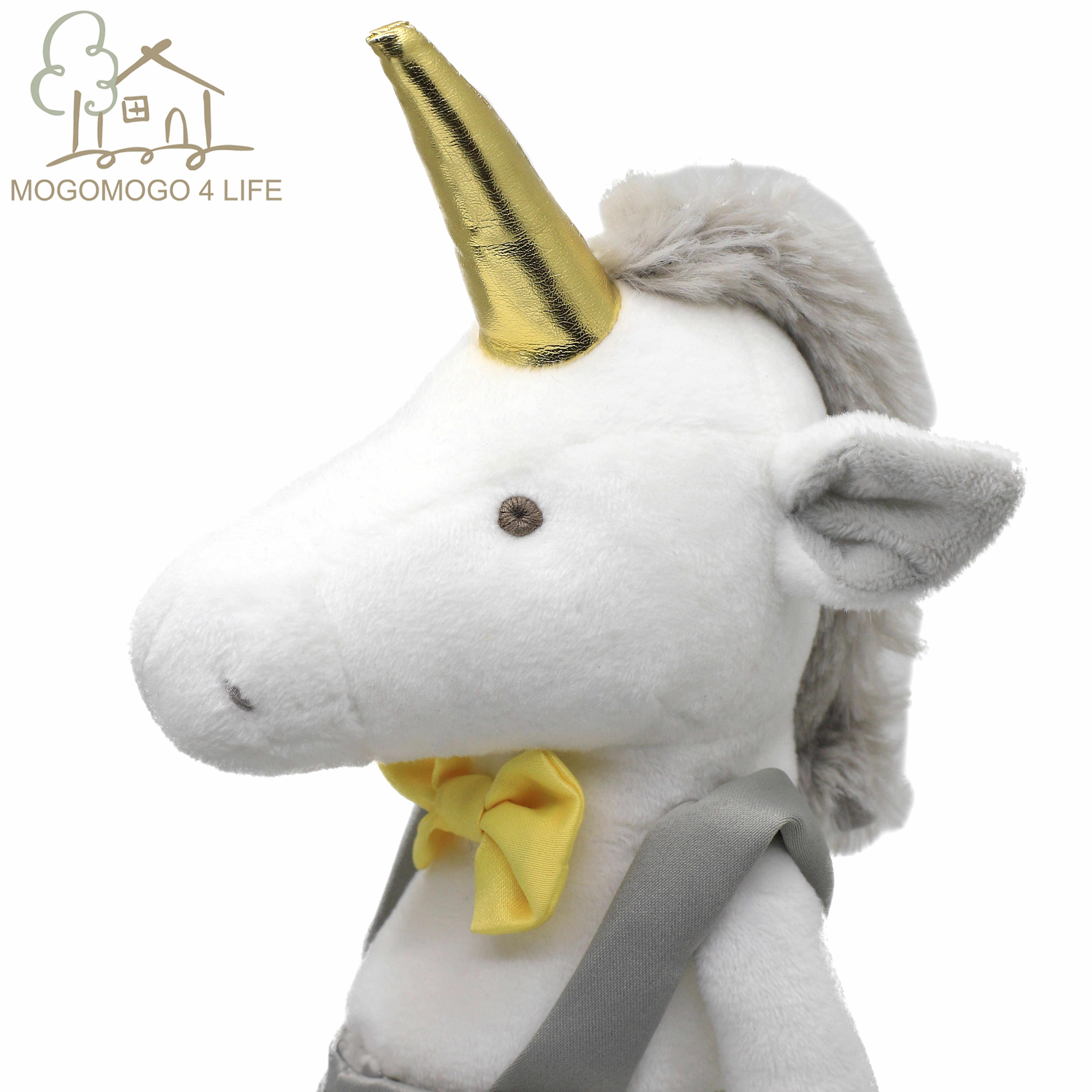Luksusowy jednorożec chłopiec pluszowe zabawki ze strojem moda nadziewane Licorne lalka dla dzieci prezent Handmade koń lalka ze złotym rogiem