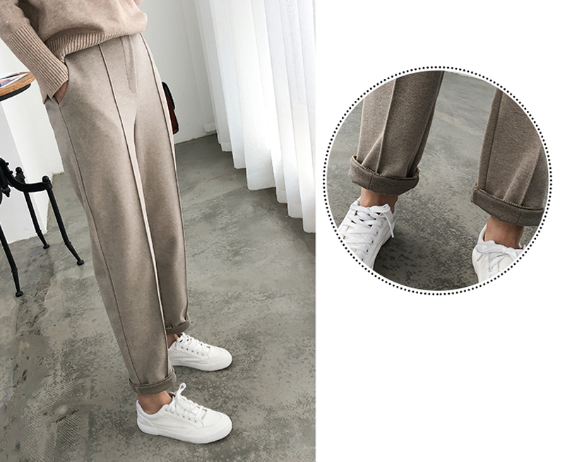 H410dcfdf95094b96b73cbe5f1cb8dd70o - Thicken Women Pencil Pants Autumn Winter Plus Size OL Style Wool Female Work Suit Pant Loose Female Trousers Capris 6648 50