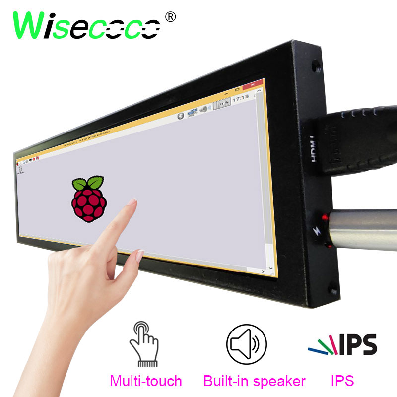 8.8 inch 1920x480 IPS touch monitor with Built-in speaker for Windows computer and raspberry pi