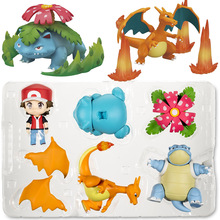 TAKARA TOMY Pokemon Doll Toys for Kids Pocket Monster Pikachu Charizard Blastoise 20th Anniversary Action Figure 10cm 4pcs/set