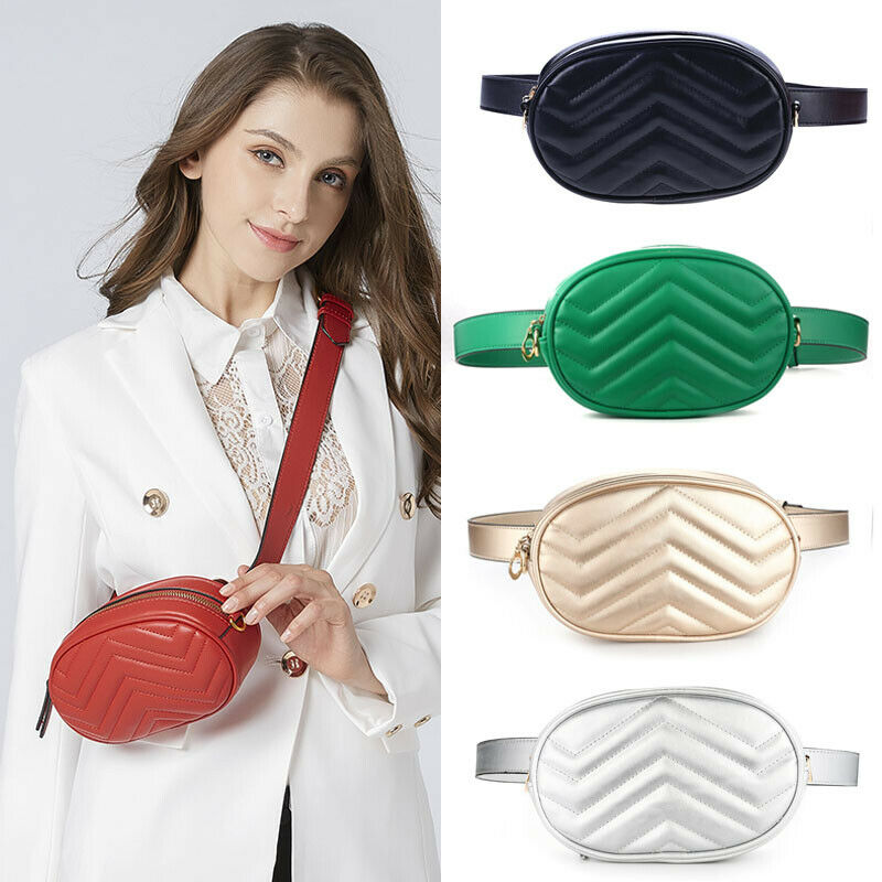 Women's Travel Waist Fanny Pack Holiday Money Belt Wallet Mini Bum Bag Pouch PU Leather Casual Chest Bags