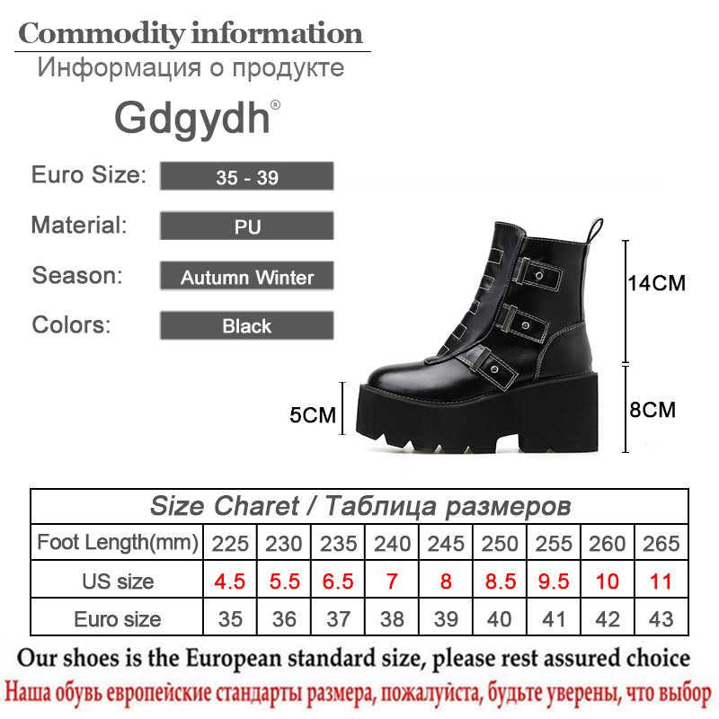 Gdgydh Naaien Vierkante Blok Hak Enkellaars Voor Vrouwen Lente 2019 Nieuwe Sexy Gesp Gothic Black Leath Punk Stijl Platform schoenen