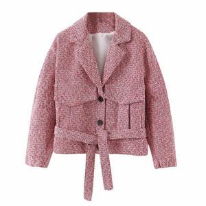 Image 2 - 2019 레트로 여성 믹스 컬러 소프트 모직 체크 무늬 자켓 벨트 하이 웨이스트 라인 미니 짧은 반바지 긴 소매 코트 2 개 세트