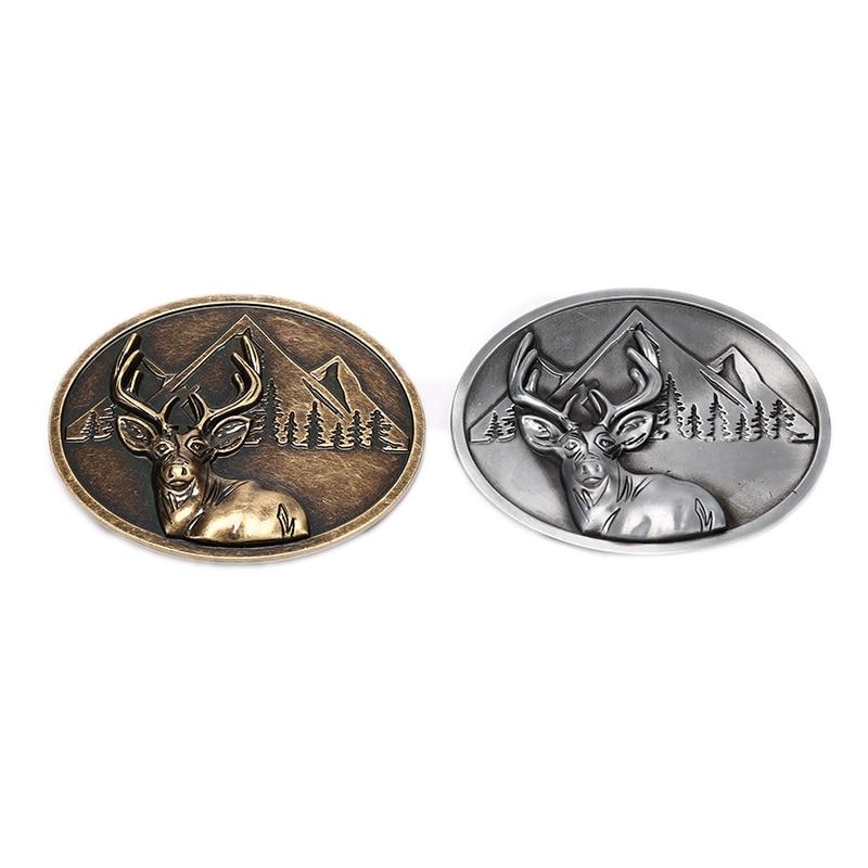 Belt Buckle Deer Head Bronze Metal Pin Buckles Suitable For 3.8cm Width Belt Fashion Pants DIY Belts