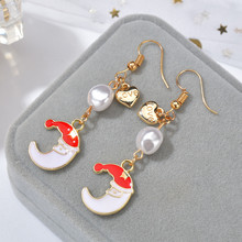 Korean Design Simulated Pearls Santa Claus Christmas Earrings For Women Sweet Snowman Star Tassel Earrings Jewelry Gift(China)