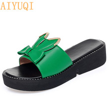 AIYUQI Women Slippers Platform 2020 Summer New Genuine Leather Shoes Large Size Cute Bunny