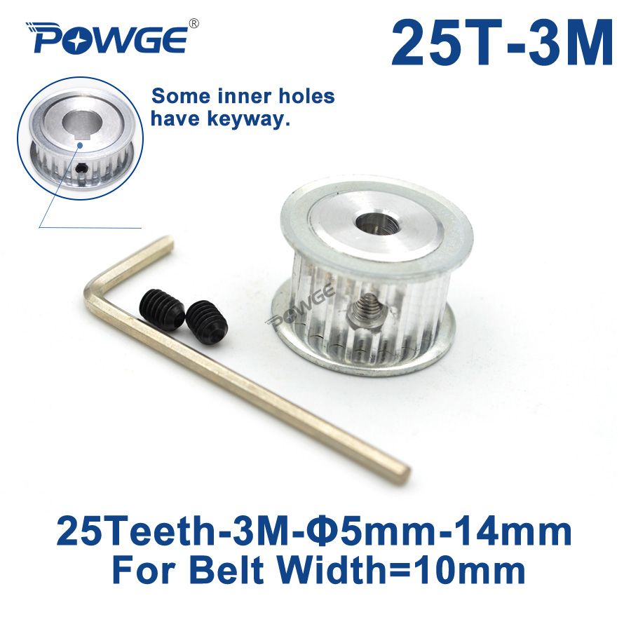 POWGE 25 Teeth HTD 3M Timing Pulley Bore 5/6/6.35/7/8/10/12/14mm for Width 10mm 3M synchronous belt HTD3M pulley 25Teeth 25T|Pulleys| |  - title=