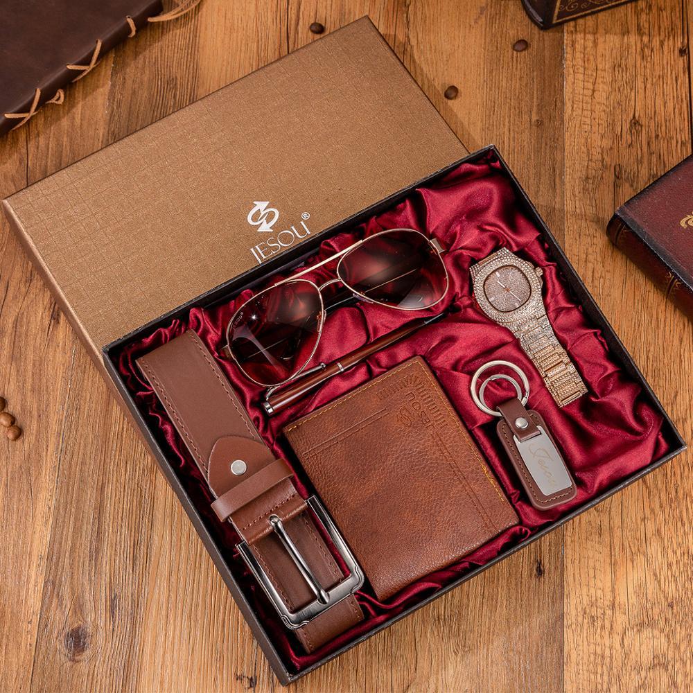 6pcs/set boutique gift set glasses+belt+wallet+key chain+large dial quartz watch+pen Free matching bracelet