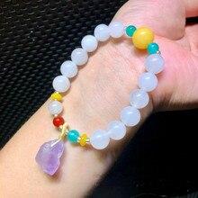 White jade carbonate 10mm amethyst original stone small pendant bracelet female