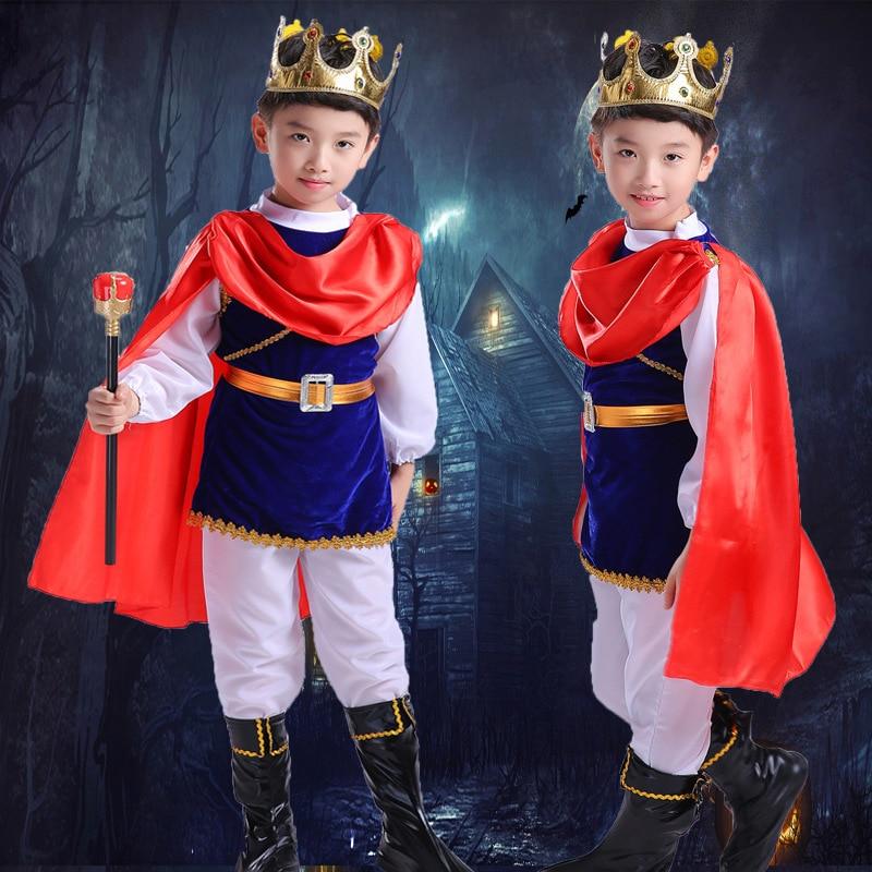 7//set Boys Medieval King Costume Charming Princess Fancy Dress Kids Book Week