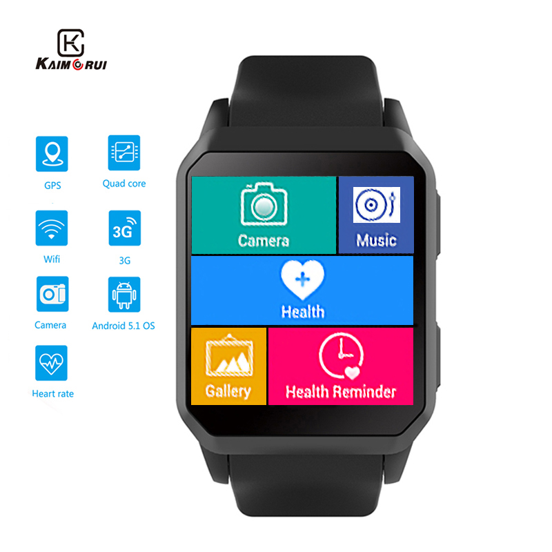 Kaimorui KW06 Smart Watch Men Heart Rate Bluetooth 3G Smartwatch With SIM Card GPS WiFi Watches Android 5.1 For Mens Wristwatch