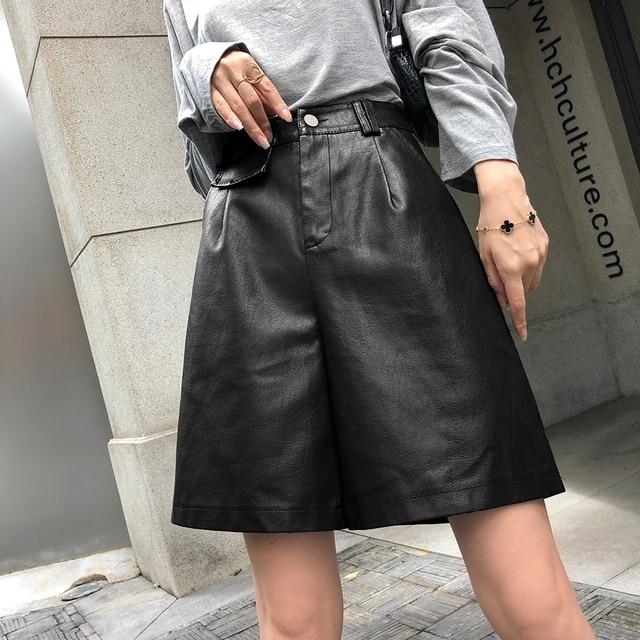 QOERLIN PU Bermuda Shorts for Women Faux Leather Shorts Stylish High Waist Shorts Streetwear Plus Size Pockets Trouser Female 4