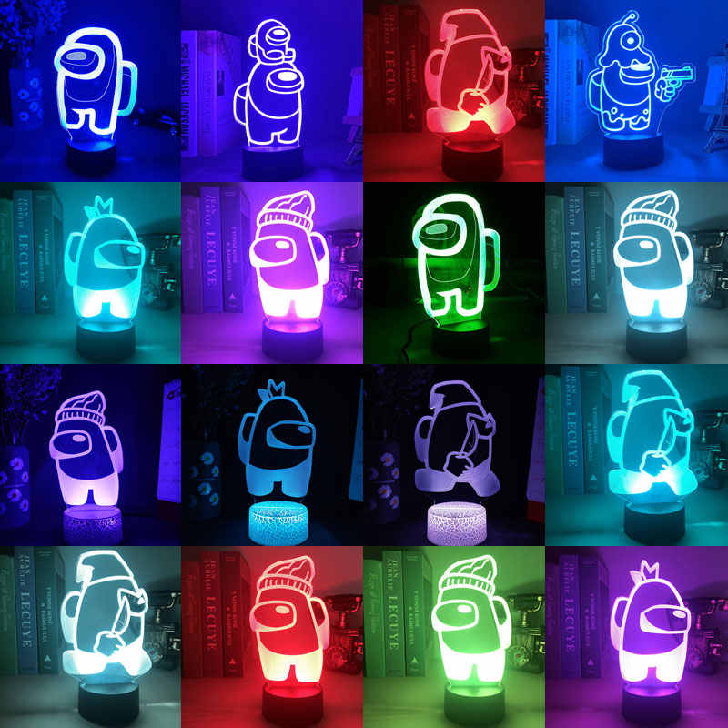 3D Among Us Game Bedside Night Light LED RGB 16 Colors Table Desktop Lamp Xmas