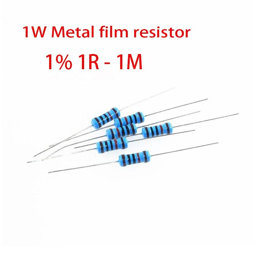50pcs 1W Metal Film Resistor 5 Color Ring 1% 1R - 1M 1R 22R 100R 220R 470R 1K 10K 22K  100K 150K 220K 10 22 47 100 220 470 Ohm