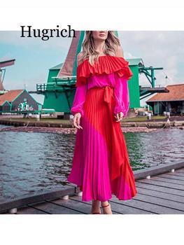 2020 Women Dress Slash Neck Off The Shoulder Dresses Women Plus Size Summer Dresses Bandage Patchwork Pleated Long Dress 3