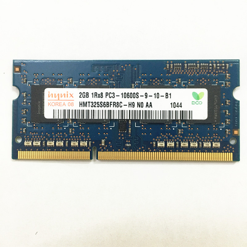 Hynix ddr3 carneiros GB 1RX8 2 PC3-10600S-9-10-B1 DDR3 2GB de memória portátil 1333MHz 1.5V