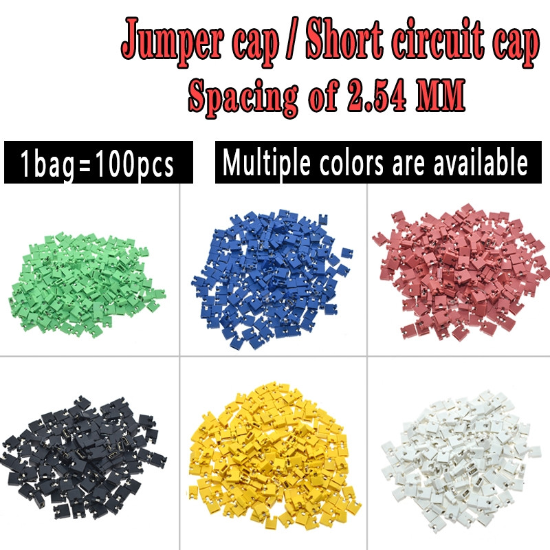 100PCS Pitch Jumper Shorted Cap & Headers & Wire Housings 2.54MM SHUNT Black Yellow White Green Red Blue