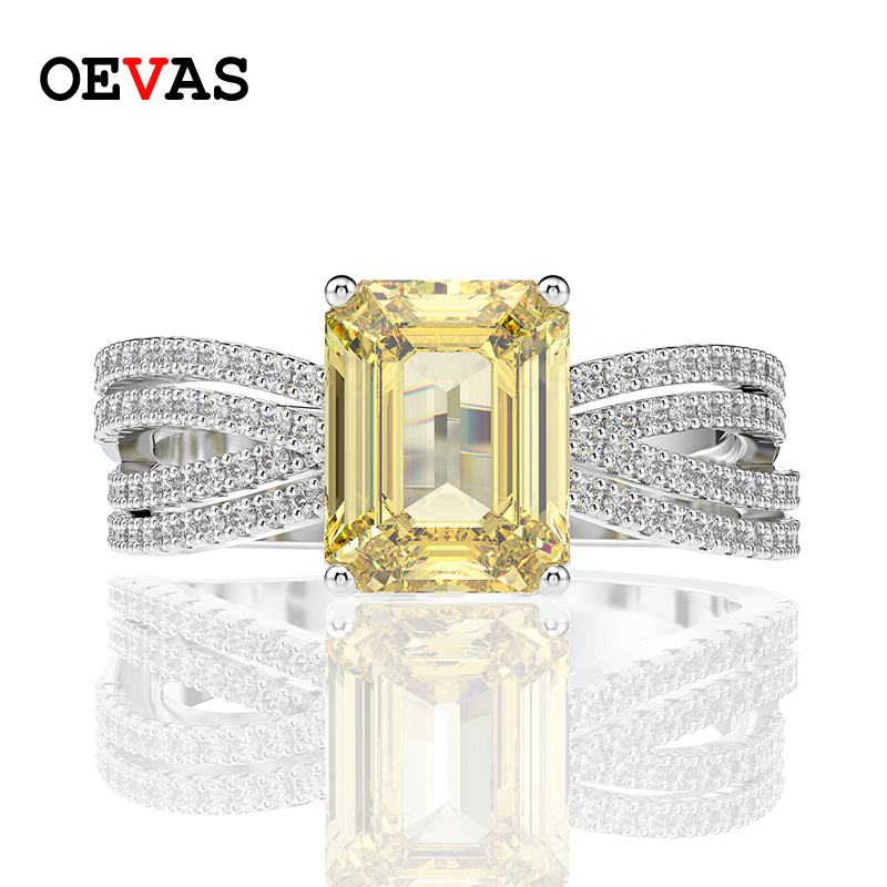 OEVAS Top Quality Luxury 100% 925 Sterling Silver Citrine Diamonds Gemstone Wedding Engagement Ring Fine Jewelry Gifts Wholesale