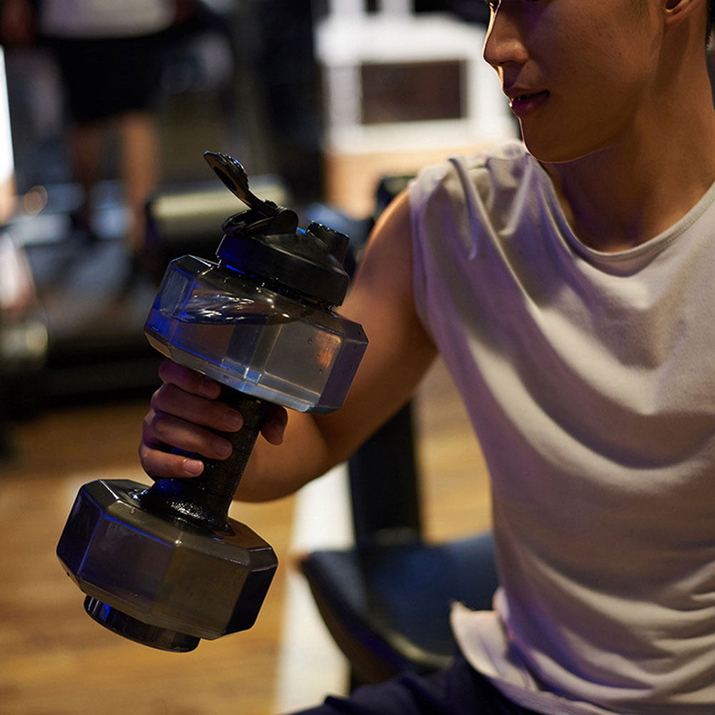 2.6 L Dumbbells Large Water Bottle Free Sports Running Fitness Kettle Gym