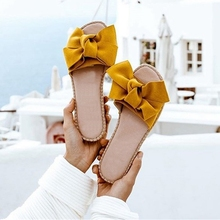 2020 Casual Slippers Women Summer Torridity Bow Flip Flops Sandals Indoor Outdoor Slides Beach Shoes Flats Female Linen Shoes summer fashion sandals shoes women bow summer sandals slipper indoor outdoor flip flops beach shoes female slippers