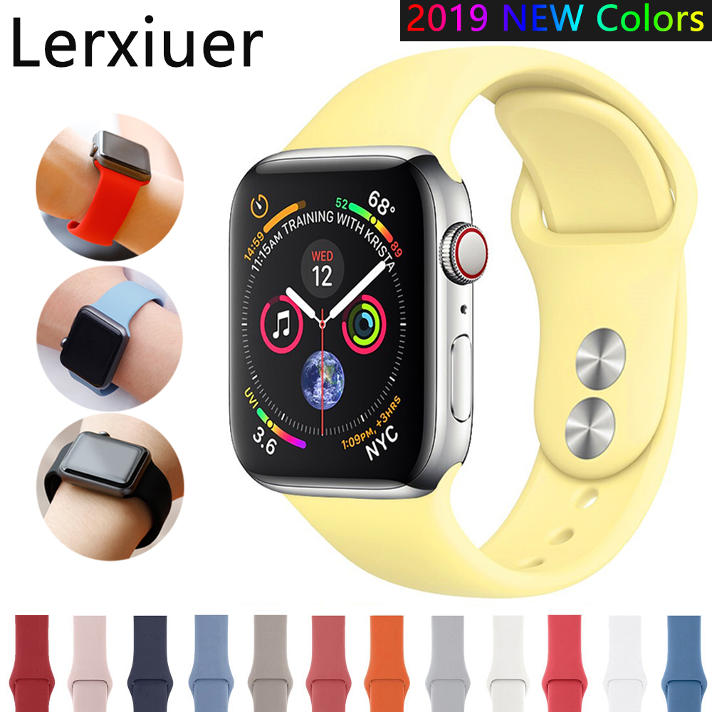 Silicone Strap For Apple Watch band 44mm 40mm 42mm 38mm 4 5 correa iwatch band Bracelet apple watch 5 4 3 2 1 Accessories | Watchbands