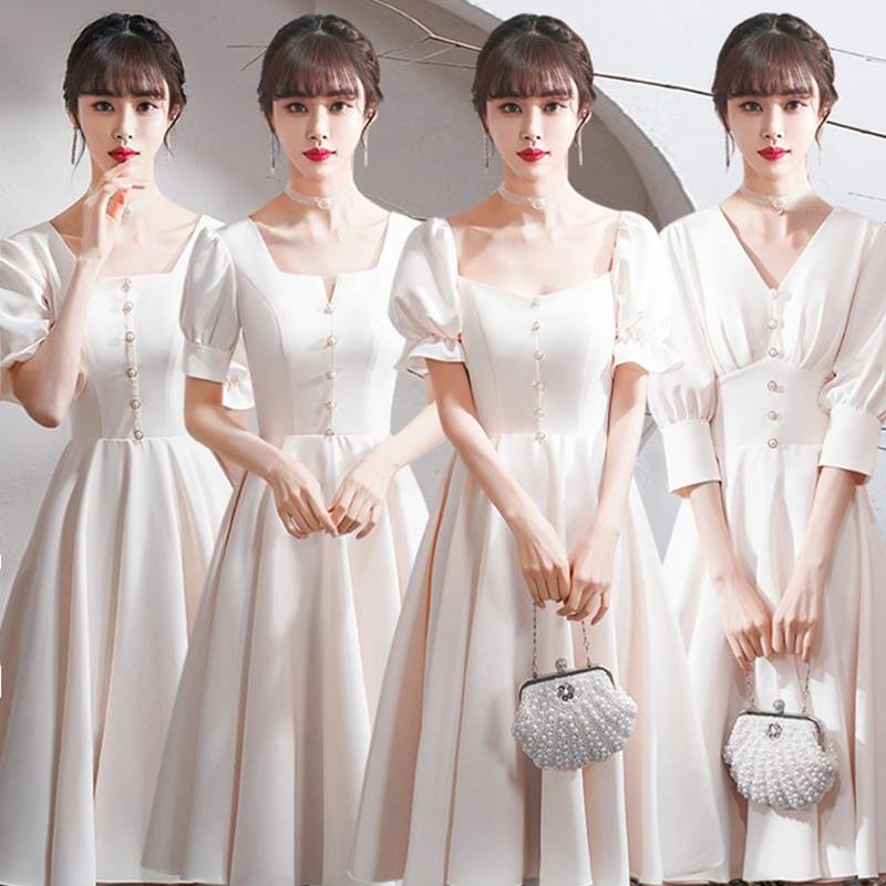 New Champagne Bridesmaid Dresses Short Satin Korean Simple Wedding Party Dresses robe de soirée de mariage vestidos de festas