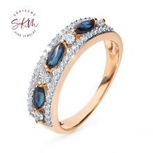 Skm модные сапфировые кольца для женщин 14 к 18 К розовое золото