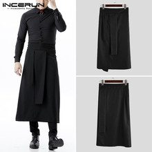 INCERUN Men Hotel Restaurant Waiter Uniform Bottoms Chef Aprons Unisex Apron Casual Solid Women Irregular Skirts Working Aprons
