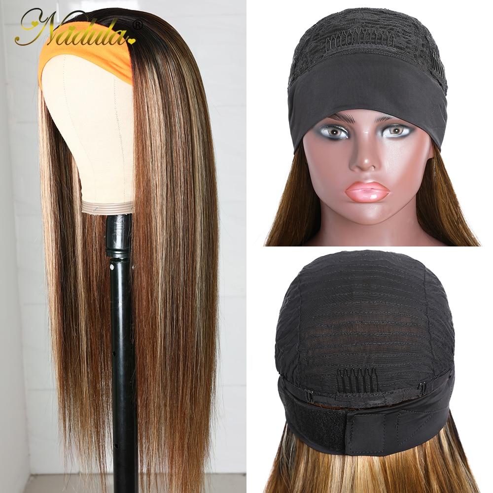 Nadula Highlight Straight Hair with Dark Roots Headband Wig  Honey Blonde Color Straight Hair Headband Wigs for Women 4