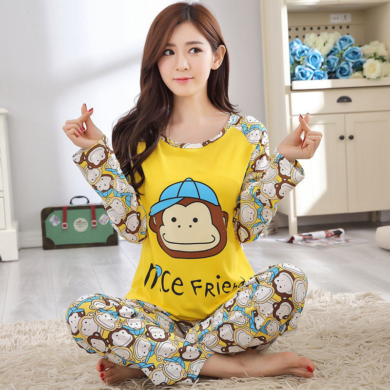 Spring Autumn 20 Style Thin Carton Generation Women pajamas Long Sleepwear Suit Home Women Female Sleep Top Wholesale Pajamas 15