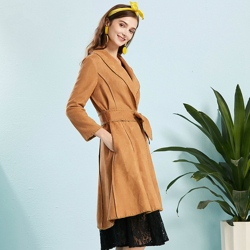 Women Autumn Spring Long Faux   Leather     Suede   Trench Fall Ladies Fashionable Slim Faux   Suede   Coat Female Outwear Windbreaker