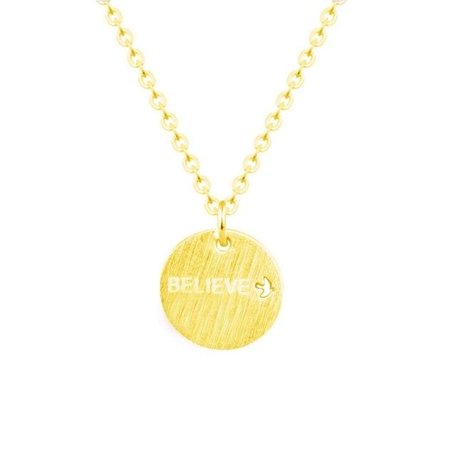 """Collar de letras grabadas de acero inoxidable """"Believe"""" con Paloma de la paz para mujeres Cadena de Color dorado collar de declaración joyas"""